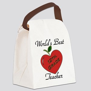 Worlds Best Teacher Apple 12 Canvas Lunch Bag